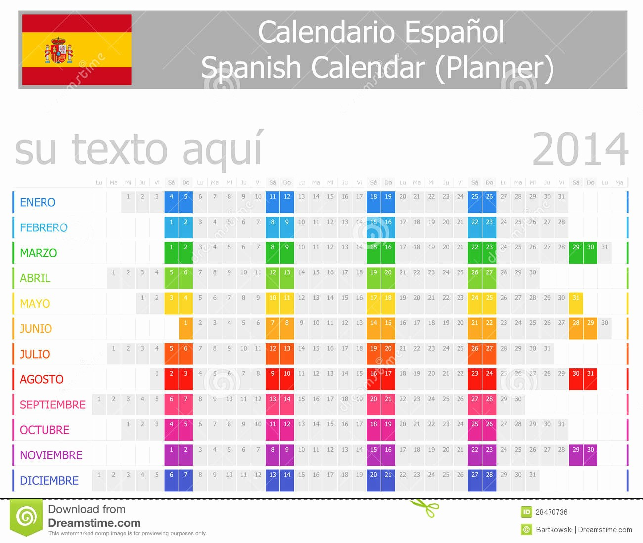 Days Of the Week Horizontal Fresh 2014 Spanish Planner Calendar with Horizontal Months Stock