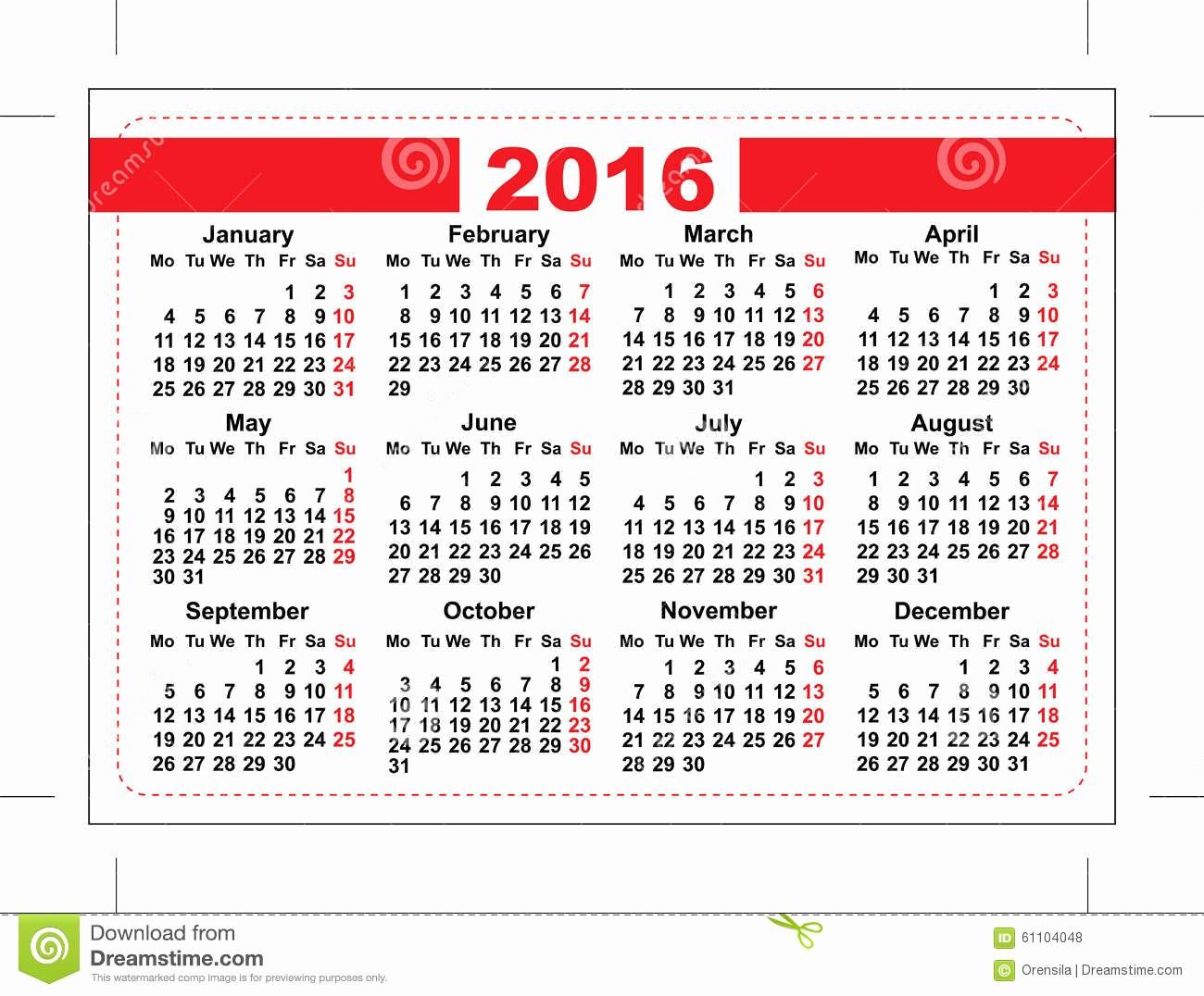 Days Of the Week Horizontal Fresh 2016 Pocket Calendar Template Grid Horizontal
