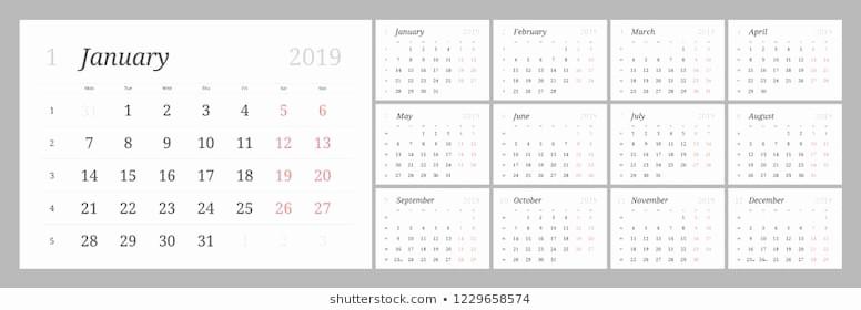 Days Of the Week Horizontal Fresh Calendar Blocks 2019 Stock S & Vectors