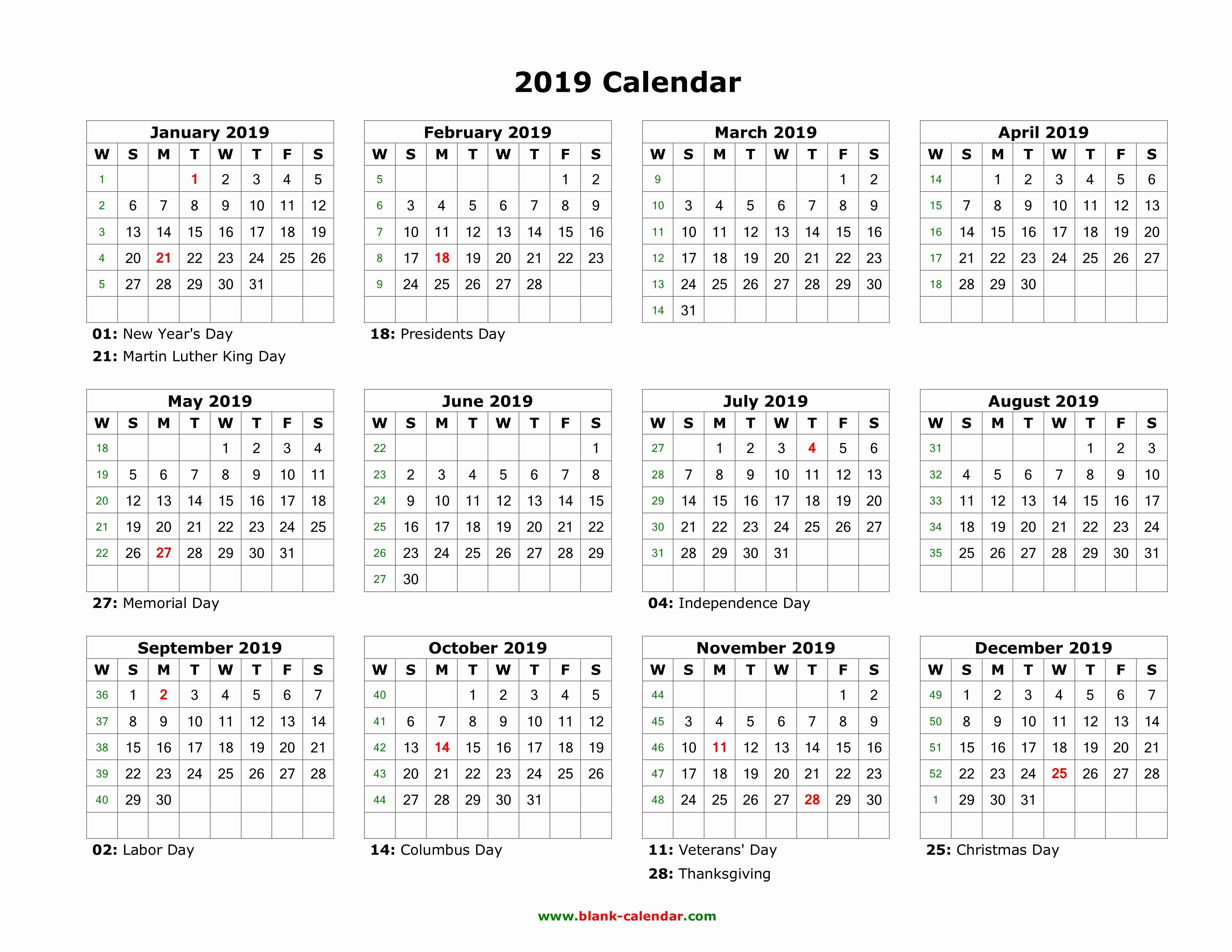 Days Of the Week Horizontal Fresh Download Blank Calendar 2019 with Us Holidays 12 Months