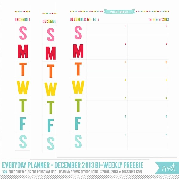 Days Of the Week Horizontal Inspirational 2014 Everyday Planner