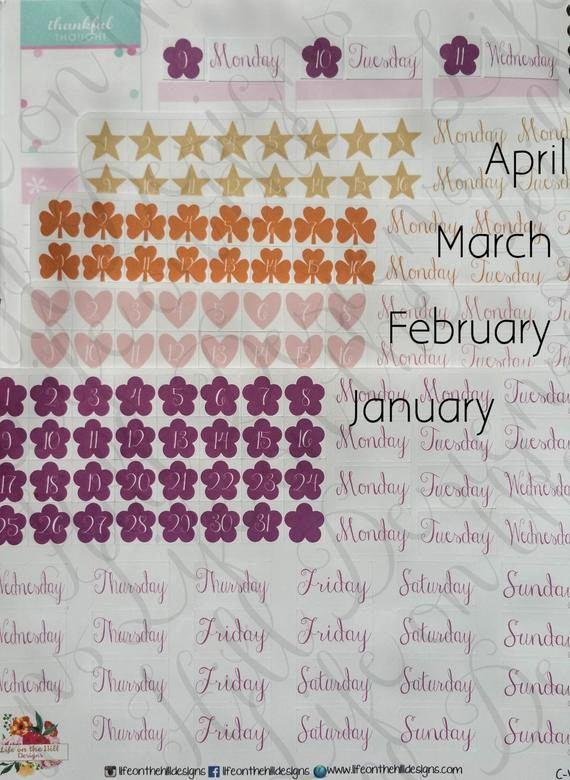 Days Of the Week Horizontal Inspirational Items Similar to Planner Stickers Eclp Horizontal Monthly