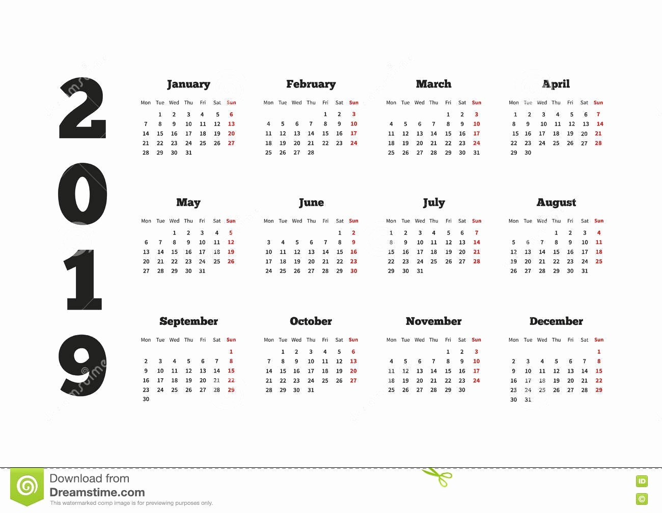 Days Of the Week Horizontal Lovely Calendar 2019 Year with Week Starting From Monday A4