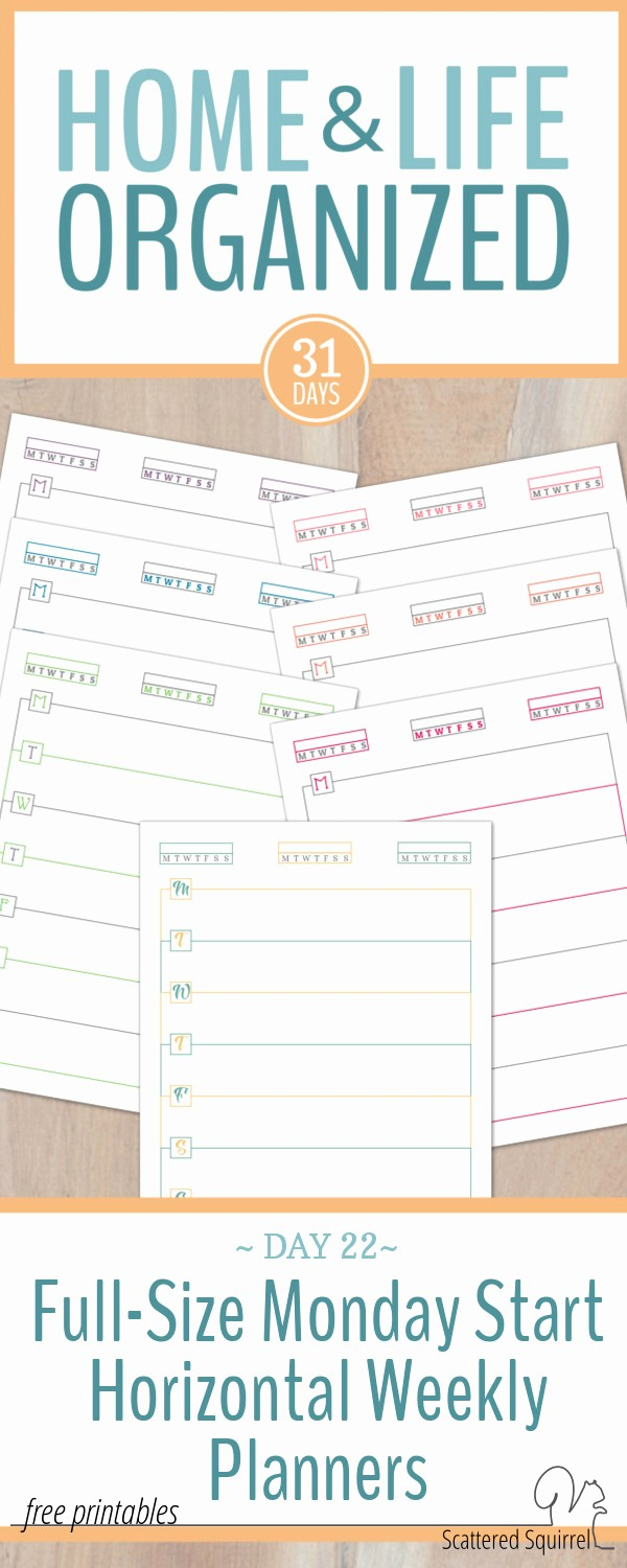 Days Of the Week Horizontal Lovely Monday Start Full Size Horizontal Weekly Planners