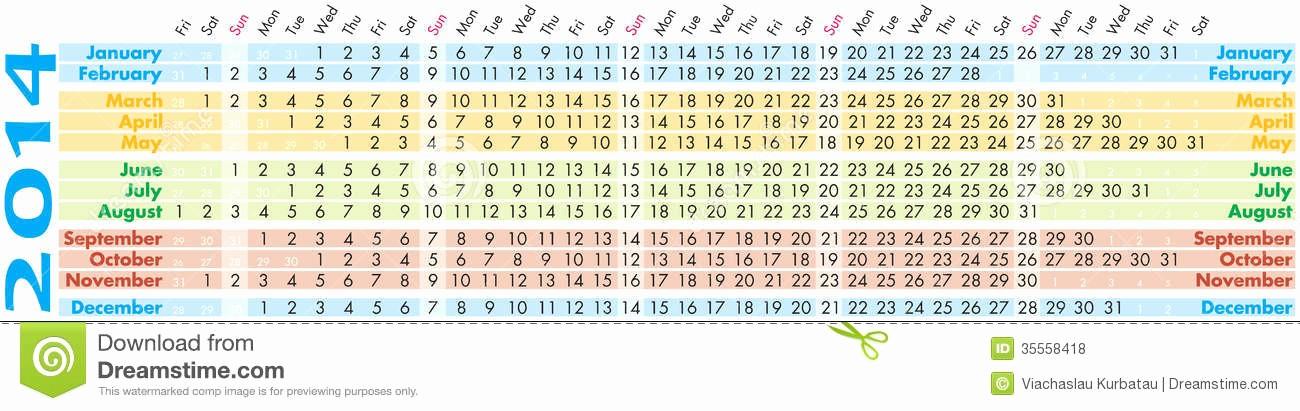 Days Of the Week Horizontal Luxury Calendar 2014 Stock Vector Illustration Of Black Date