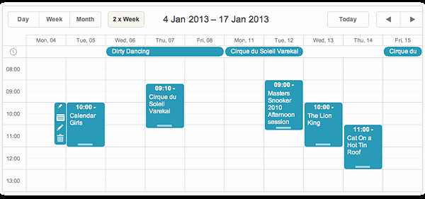Days Of the Week Horizontal Luxury D Xscheduler 4 0 Integration with Jquery Backbone Js