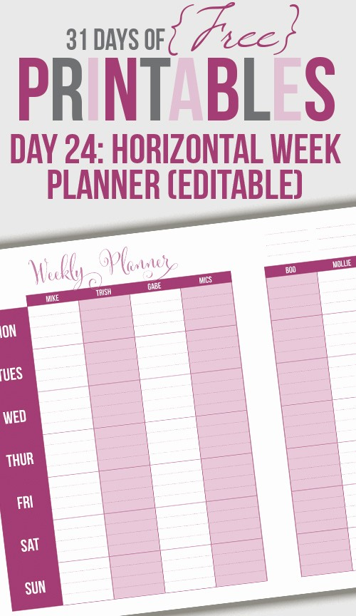 Days Of the Week Horizontal Luxury Horizontal Weekly Printable Day 24 I Heart Planners