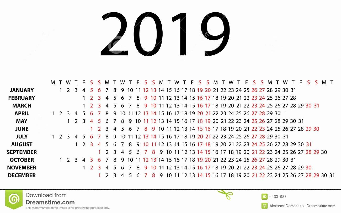 Days Of the Week Horizontal New Horizontal Calendar for 2019 White Stock Vector
