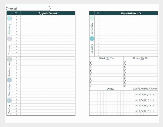 Days Of the Week Horizontal New Printable A5 Horizontal Weekly Planner Layout with Daily