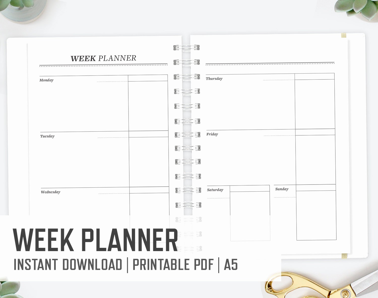 Days Of the Week Horizontal New Week Planner A5 Horizontal Boxes Planner Weekly