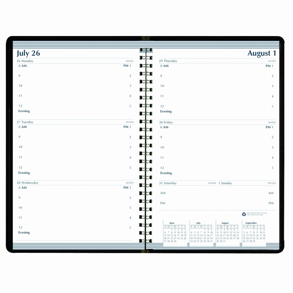 Days Of the Week Horizontal New Weekly Calendar Academic Planner Horizontal format Black 5