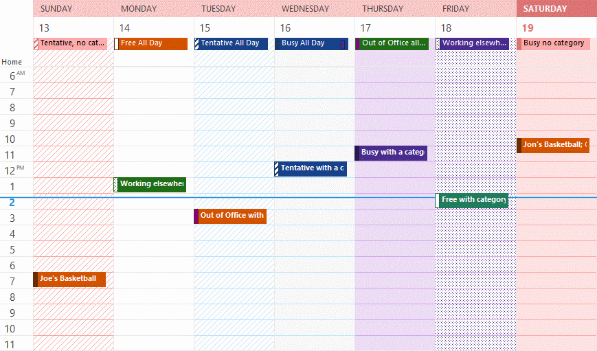 Days Of the Week Horizontal Unique Understanding Outlook S Calendar Patchwork Colors