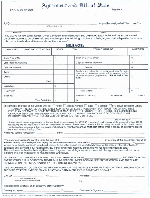 Dealer Bill Of Sale Template Unique Agreement Bill Of Sale 100 Pk