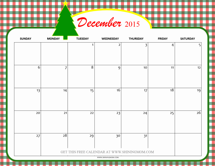 December 2015 Calendar Word Document Awesome December 2015 Calendars Christmas themed Designs