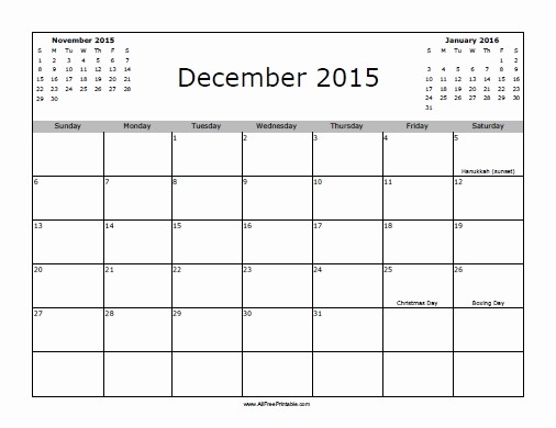 December 2015 Calendar Word Document Best Of December 2015 Calendar with Holidays Mini Image