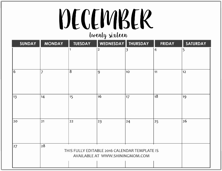 December 2015 Calendar Word Document Fresh Just In Fully Editable 2016 Calendar Templates In Ms Word
