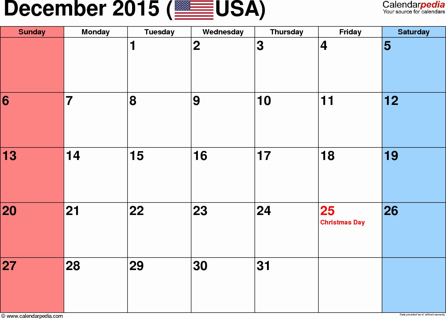 December 2015 Calendar Word Document New December 2015 Calendars for Word Excel & Pdf