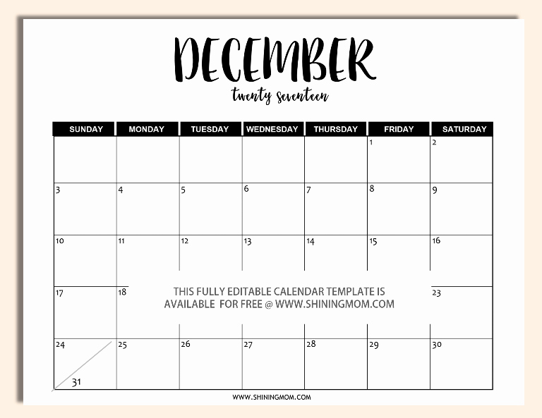December 2017 Calendar Template Word Beautiful Free Printable Fully Editable 2017 Calendar Templates In