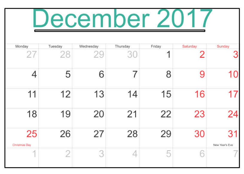 December 2017 Calendar Template Word Best Of December 2017 Calendar Word Document Printable