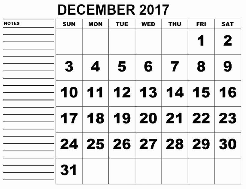 December 2017 Calendar Template Word Fresh December 2017 Printable Calendar Excel Word Pdf