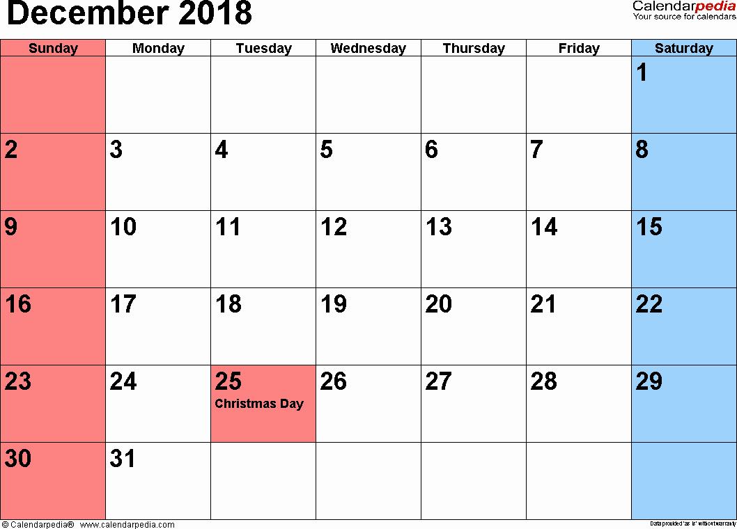 December 2017 Calendar Template Word Fresh December 2018 Calendar Word Year – Printable Calendar 2018