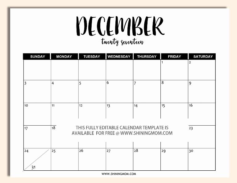 December 2017 Calendar Template Word Fresh Free Printable Fully Editable 2017 Calendar Templates In