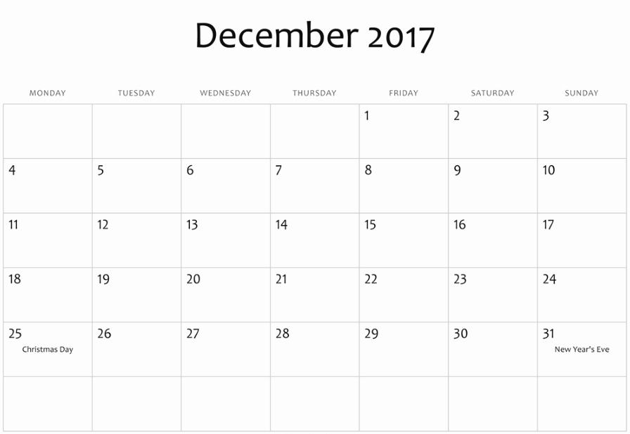 December 2017 Calendar Template Word Lovely December 2017 Calendar Word Document Printable