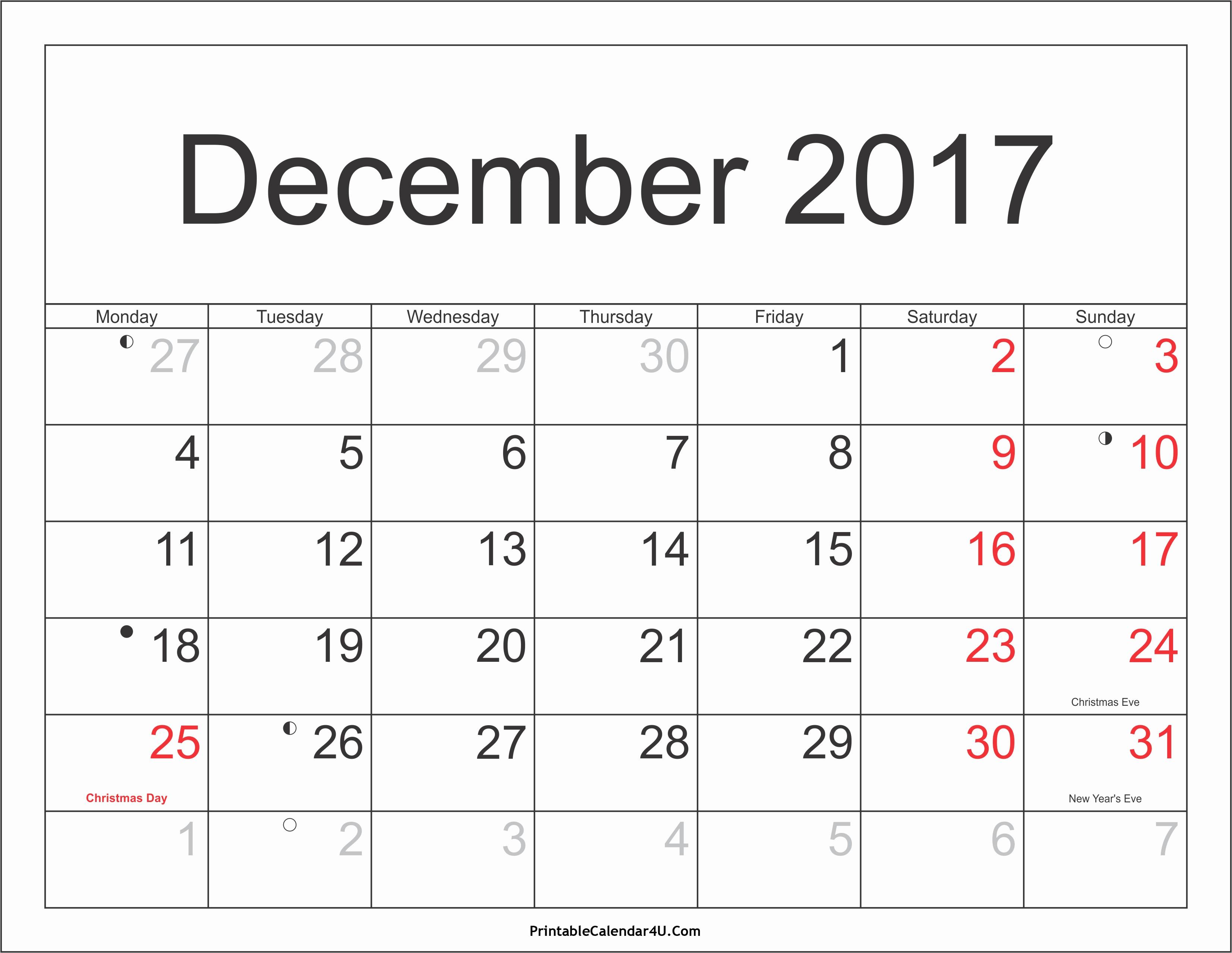 December 2017 Calendar Template Word New December 2017 Calendar Pdf