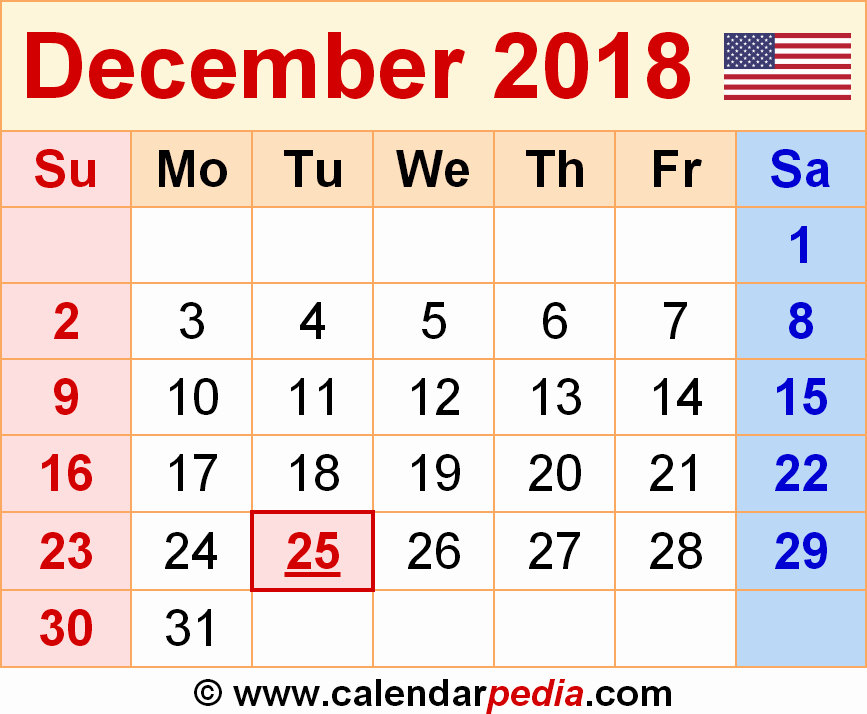 December 2017 Calendar Template Word New December 2018 Calendar Word