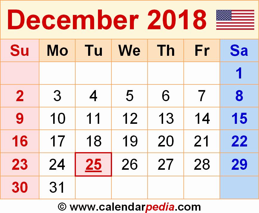 December 2017 Calendar Template Word New December 2018 Calendar Word