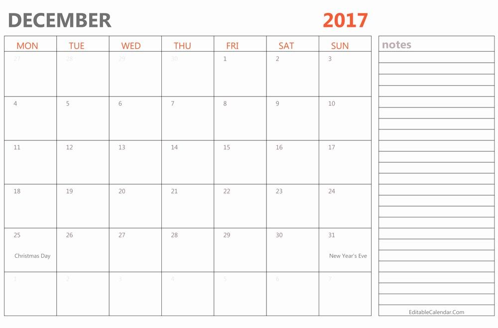 December 2017 Calendar Template Word New Editable December 2017 Calendar Template Ms Word Pdf