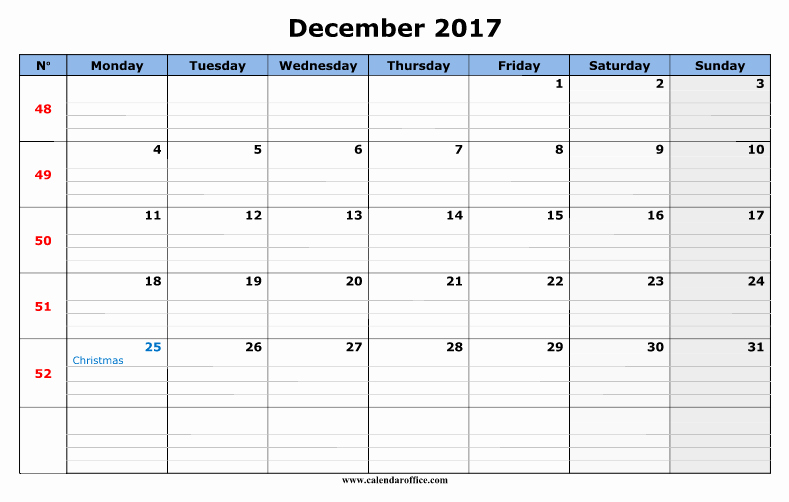 December 2017 Calendar Template Word Unique December 2017 Calendar Word