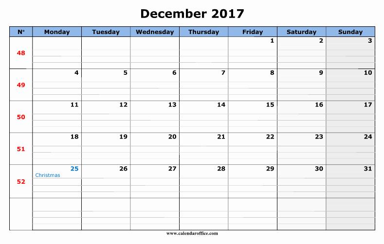 December 2017 Calendar Template Word Unique December 2017 Calendar Word