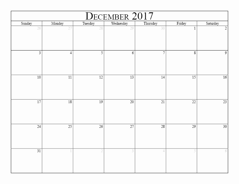 December 2017 Calendar Template Word Unique December 2017 Printable Calendar Template Holidays Excel
