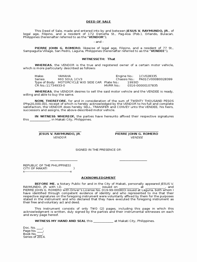 Deed Of Sale for Car Awesome Deed Motor Vehicle Doc Impremedia