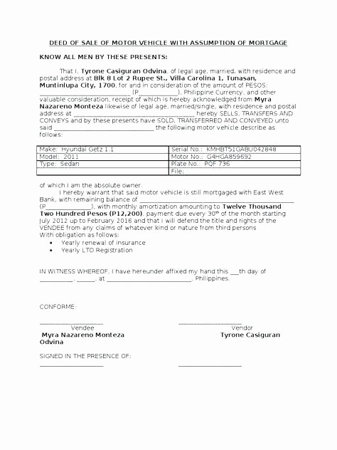 Deed Of Sale for Car Awesome Sale Motor Vehicle Template Car Bill Sale Template