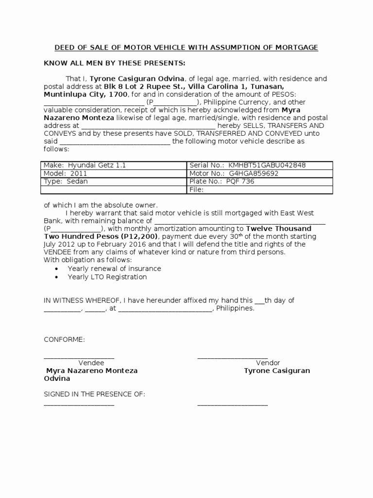 Deed Of Sale for Car Beautiful Deed Of Sale Of Motor Vehicle with assumption Of Mortgage