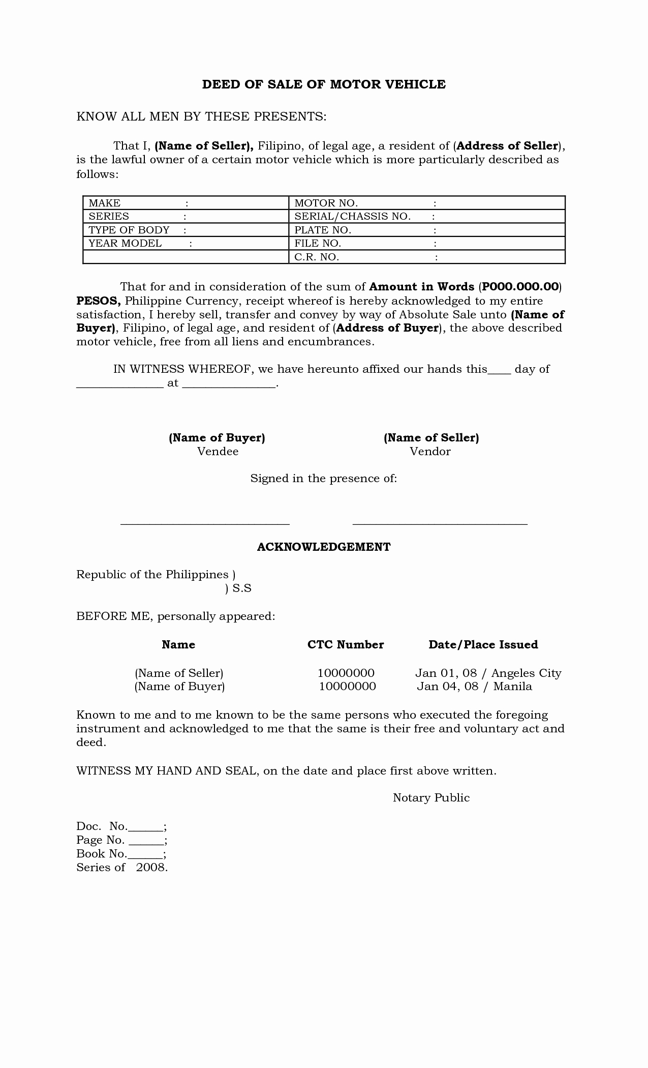 Deed Of Sale for Car Best Of Philippines Deed Of Sale Of Motor Vehicle by Batotoyako