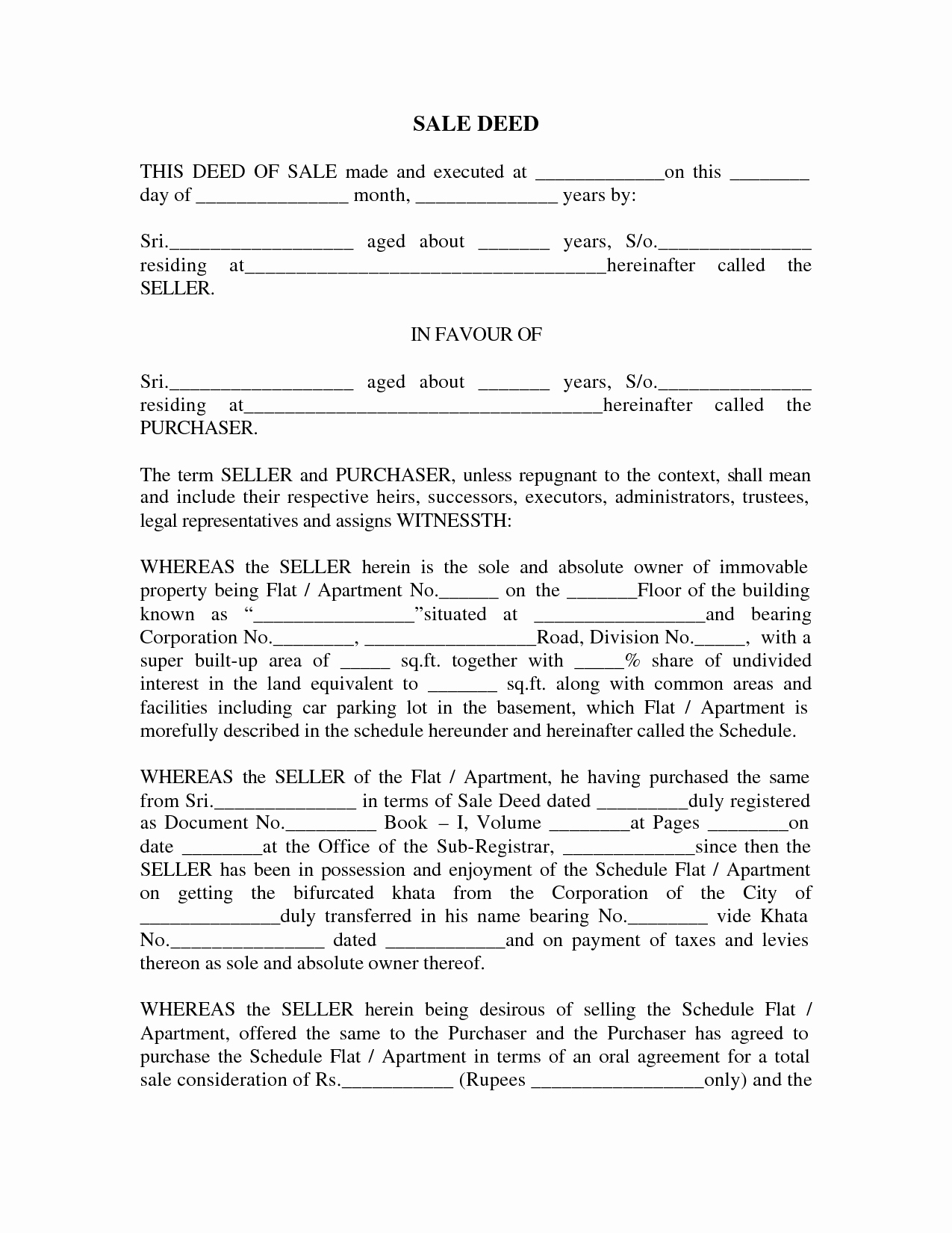 Deed Of Sale for Car Best Of Sale Deed format Images Sale Deed for Car