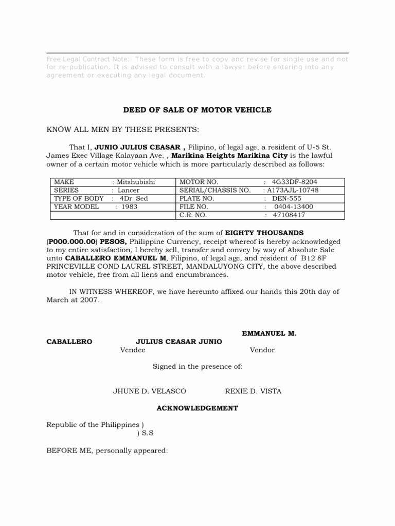Deed Of Sale for Car Fresh Download Deed Of Conditional Sale Of Motor Vehicle