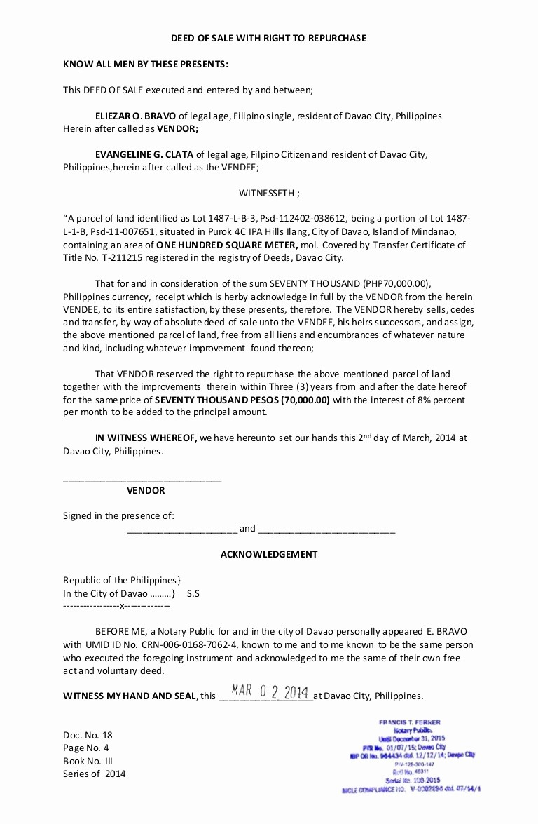 Deed Of Sale for Car Inspirational Deed Of Sale with Right to Repurchase