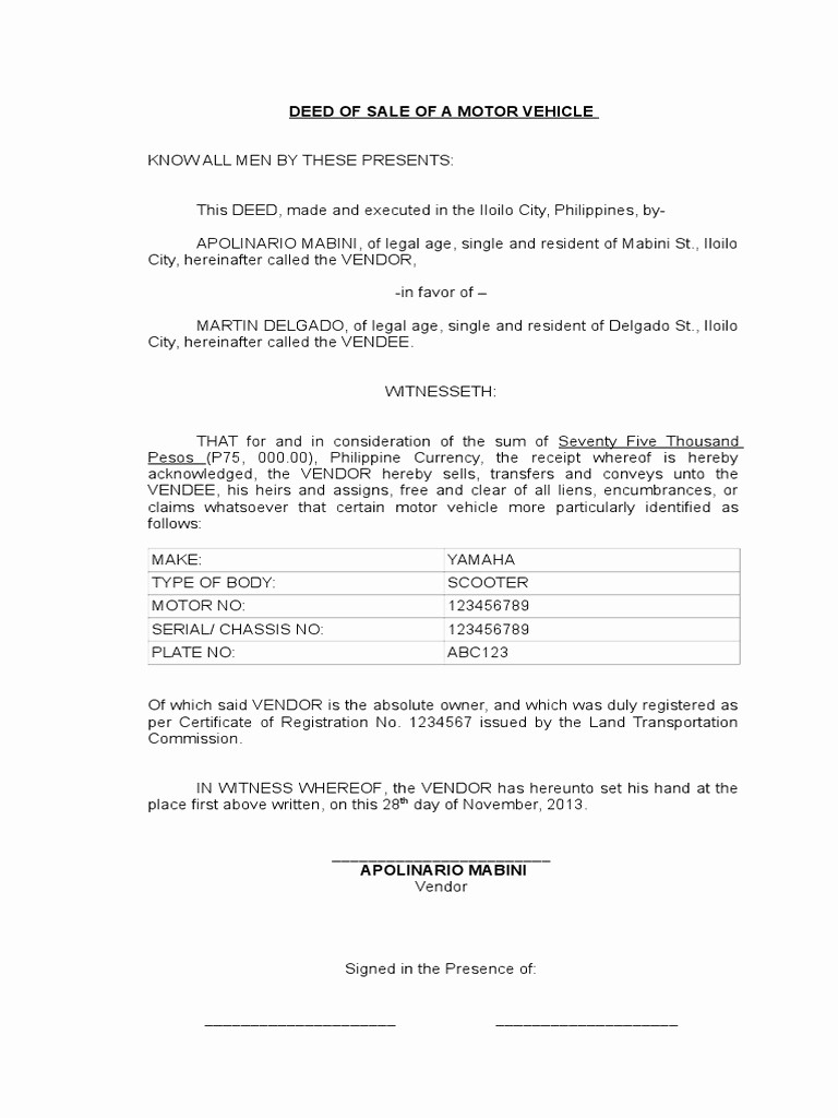Deed Of Sale for Car Lovely Legal forms Deed Of Sale Motor Vehicle Doc