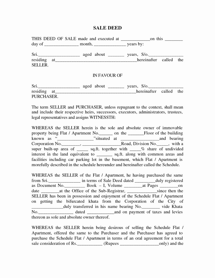 Deed Of Sale for Car Lovely Sale Deed format Images Sale Deed for Car