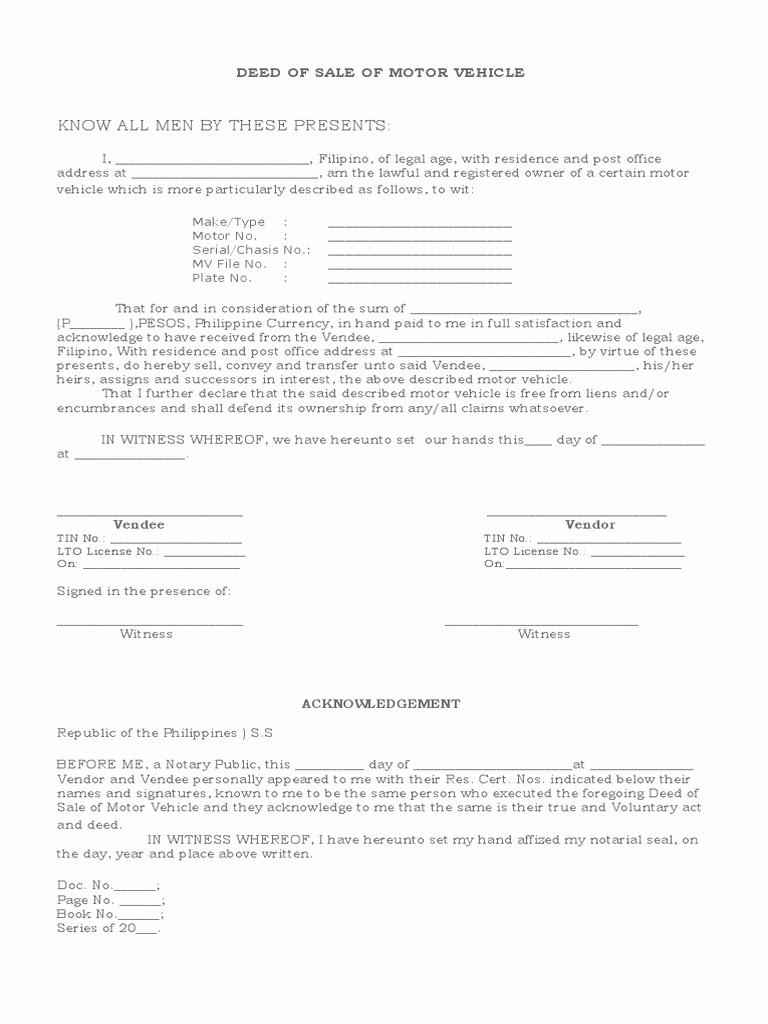 Deed Of Sale for Car Luxury Deed Of Sale Motor Vehicle Doc