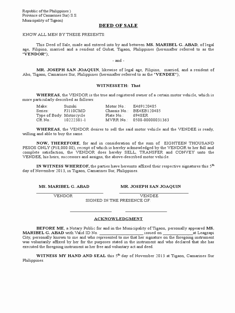 Deed Of Sale for Car Luxury Download Deed Of Sale Of Motor Vehicle Template Doc