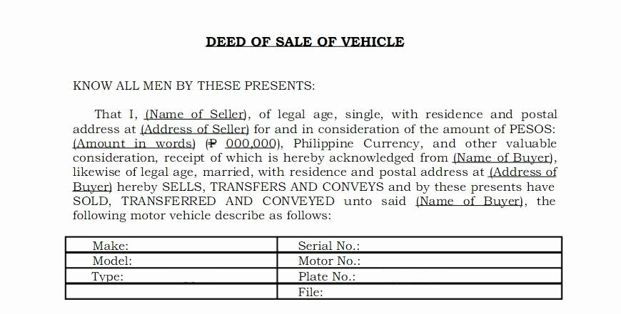 Deed Of Sale for Car Luxury Everything You Need to Know About Vehicle's Deed Of Sale