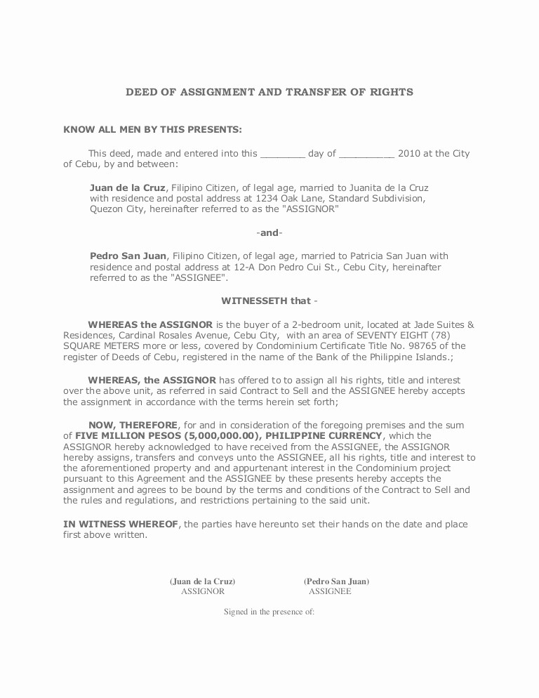 Deed Of Sale for Car New Deed Of assignment and Transfer Of Rights
