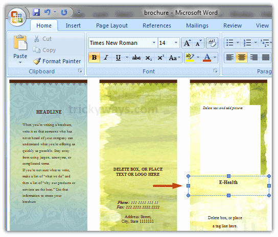 Design A Pamphlet In Word Beautiful Create Brochure In Word 2007 or 2010