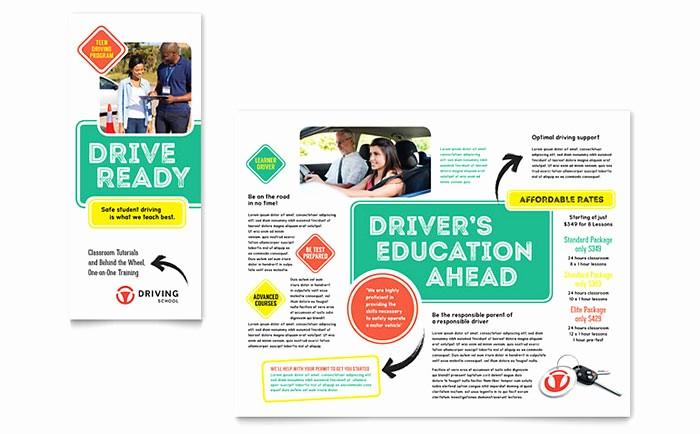 Design A Pamphlet In Word Elegant Driving School Brochure Template Design