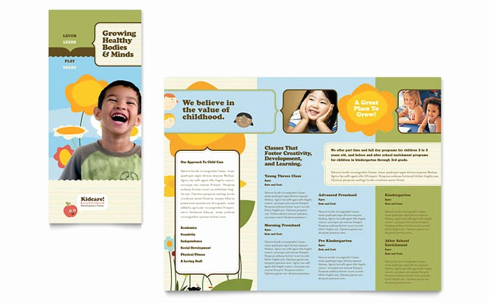 Design A Pamphlet In Word Fresh Child Development School Tri Fold Brochure Template Design